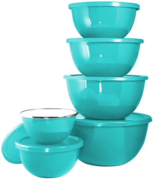 Turquoise 12-Piece Enamel on Steel Bowl Set with Airtight Lids