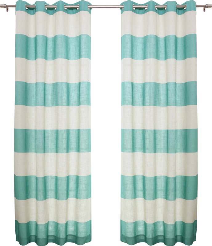 Turquoise Classic Striped Semi-Sheer Grommet Curtain Panels