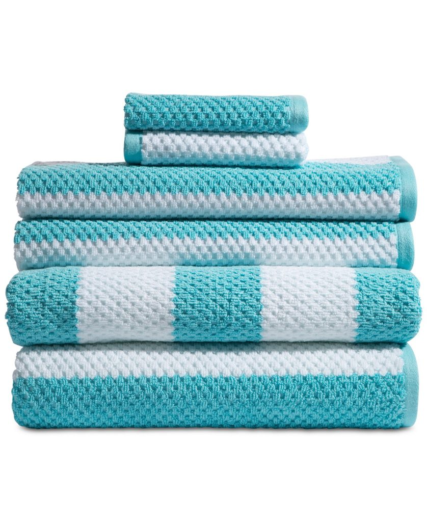 Turquoise Rugby Cotton 6-Pc. Textured Stripe Towel Set