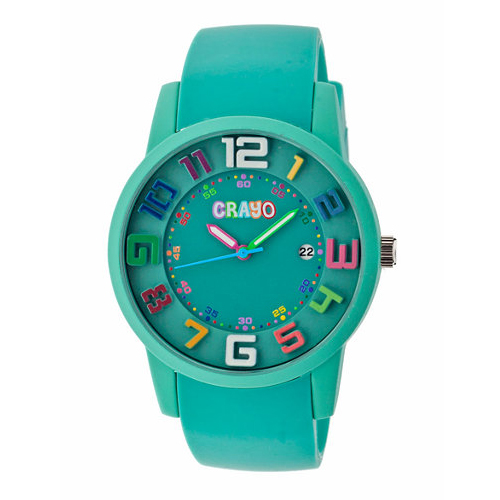 Crayo Women's Festival Teal Silicone-Band Watch