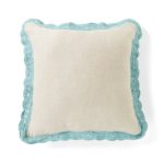 Crochet-Trimmed Linen Square Pillow