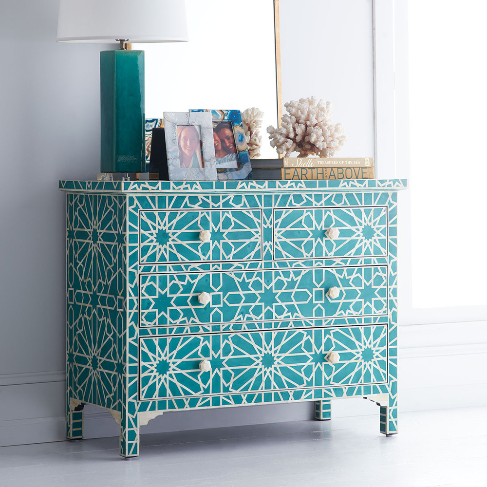 Teal Moorish Bone-Inlay Chest