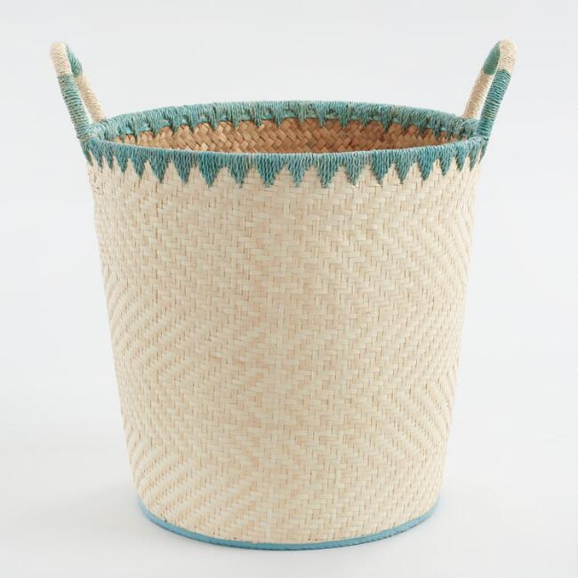 Large Turquoise And Natural Palm Leaf Daniela Tote Basket