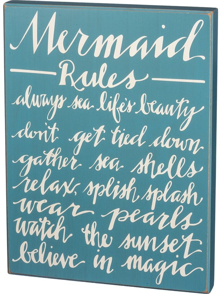 Mermaid Rules Box Sign
