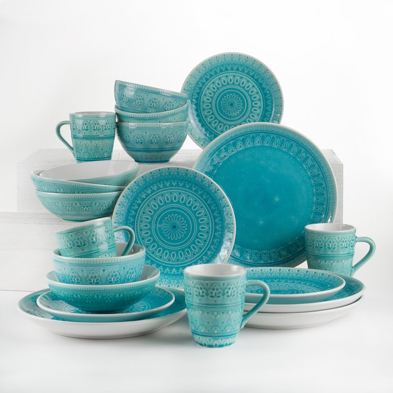 Turquoise Halsey 20 Piece Dinnerware Set : teal plates dinnerware - pezcame.com