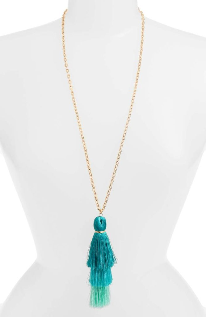 Turquoise Tiered Tassel Necklace