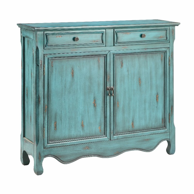 Distressed Blue Accent Cabinet