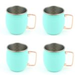 Fiesta Turquoise Moscow Mule Hammered Mug Set