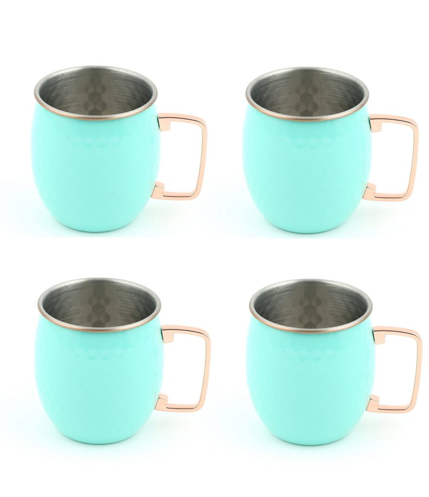 Fiesta Turquoise Moscow Mule Hammered Mug, Set of 4