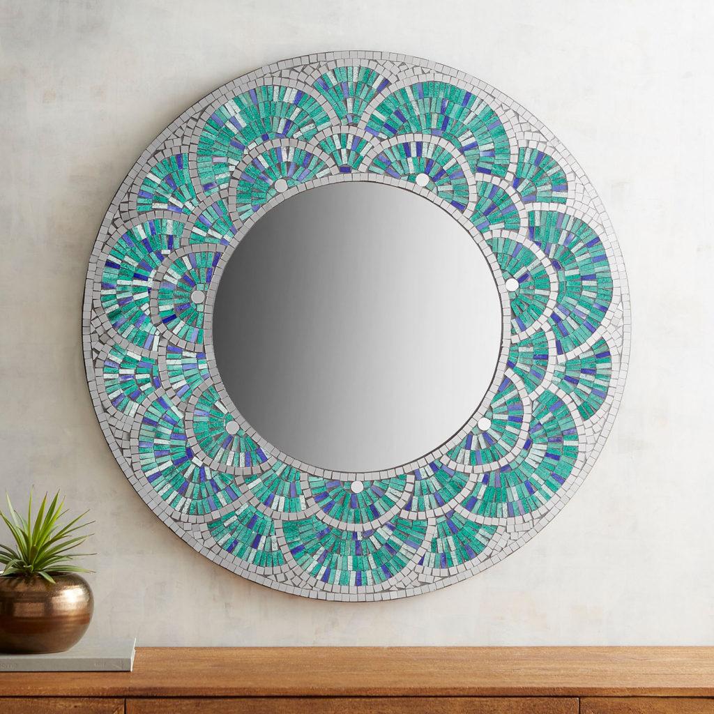 "Peacock Mosaic 32"" Round Mirror"