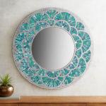 Peacock Mosaic 32″ Round Mirror