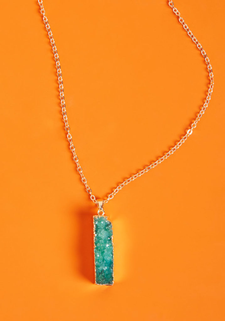 Picky Druzy Pendant Necklace in Teal