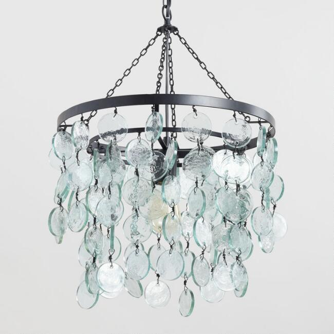 Aqua Draped Sea Glass Disc Pendant Lamp