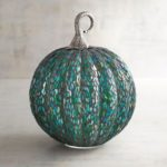 Large Blue & Green Mosaic Art Glass Pumpkin