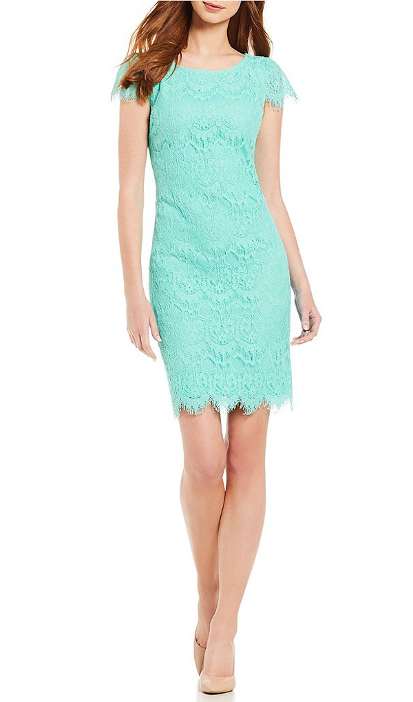 KARL LAGERFELD PARIS Turquoise Scallop Hem Lace Sheath Dress