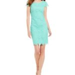 Turquoise Scallop Hem Lace Sheath Dress