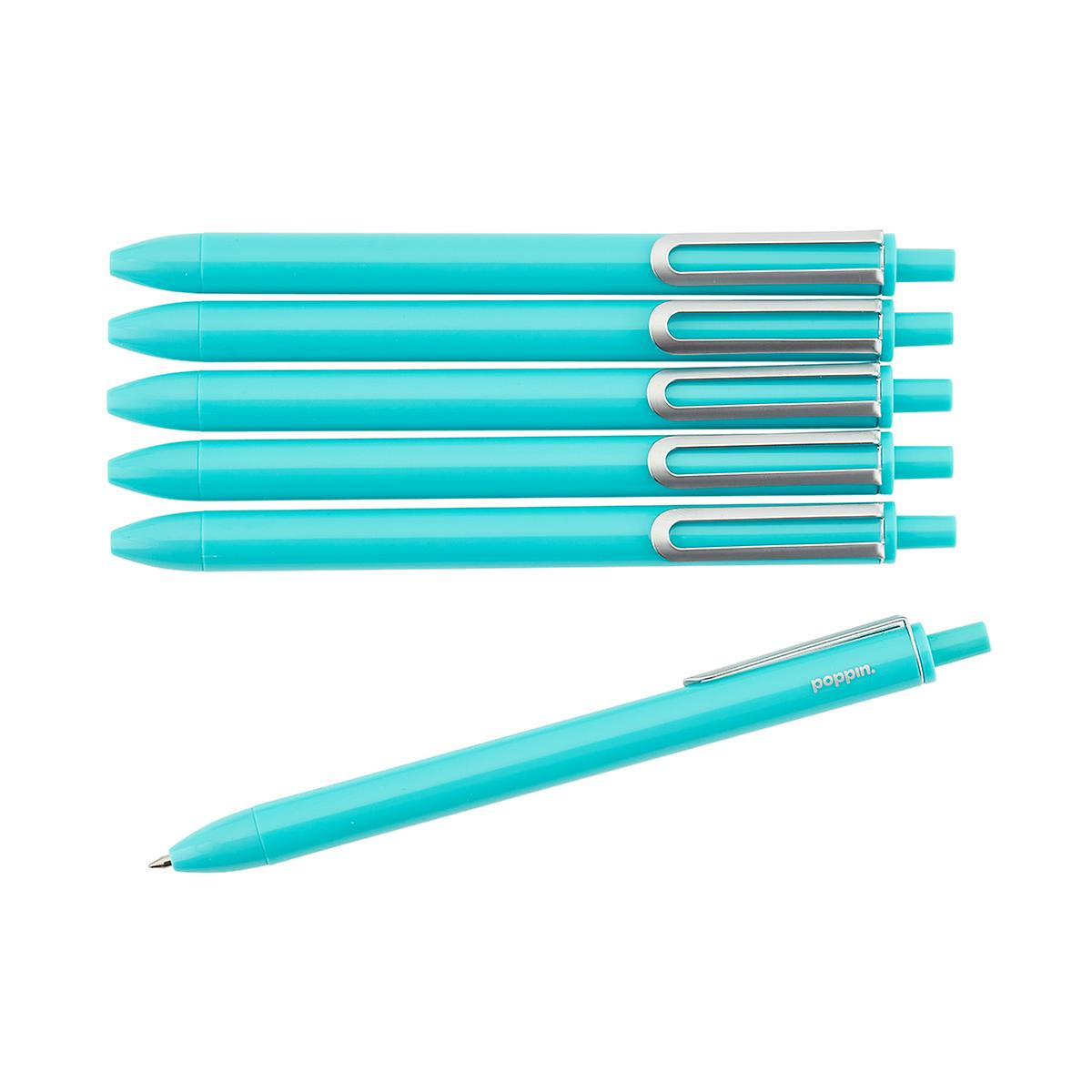 Poppin Aqua Retractable Luxe Gel Pens Pkg