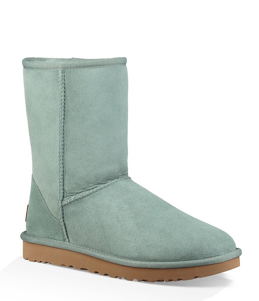 UGG Classic Short II Suede Boots in Sea Green