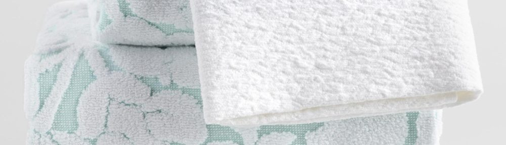 White And Aqua Floral Sculpted Emma Towel Collection
