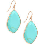 Panacea Rose Goldtone & Turquoise Drop Earrings